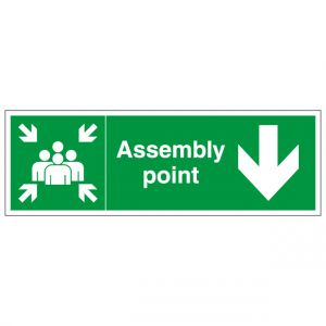 Fire Assembly Point Right Arrow Safety Sign
