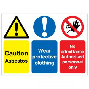 Caution Asbestos Wear Protective Clothing No Admittance Authorised Personnel Only