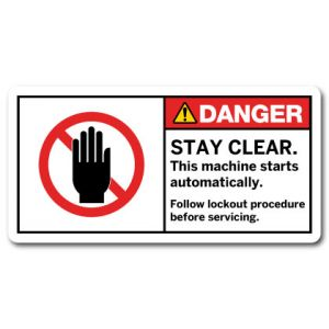 Stay Clear Machine Starts Without Warning