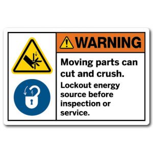 Moving Parts Can Crush And Cut Lockout Energy Source Before Inspection Or Service