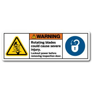 Rotating Blades Could Cause Severe Injury Lockout Power Before Removing Inspection Door