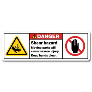 Shear Hazard Moving Parts Will Cause Severe Injury Keep Hands Clear