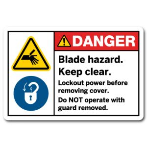 Blade Hazard Keep Clear Lockout Power Before Removing Cover Do Not Operate With Guard Removed