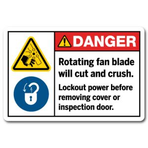 Rotating Fan Blade Will Cut And Crush Lockout Power Before Removing Cover Or Inspection Door