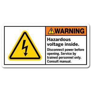 Hazardous Voltage Inside Disconnect Power Before Opening Service By Trained Personnel Only Consult Manual
