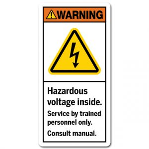 Hazardous Voltage Inside Service By Trained Personnel Only Consult Manual