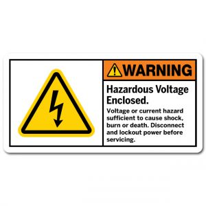 Hazardous Voltage Enclosed Voltage Or Current Hazard Sufficient To Cause Shock Burn Or Death Disconnect And Lockout Power Before Servicing