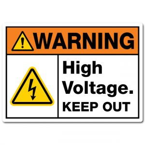 Warning High Voltage Keep Out