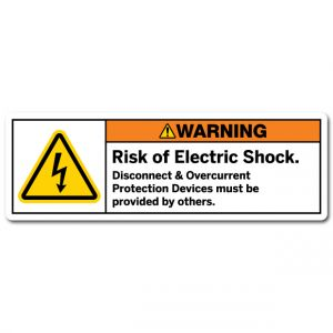 Risk Of Electric Shock Disconnect And Overcurrent Protection Devices Must Be Provided By Others