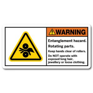 Entanglement Hazard Rotating Parts Keep Hands Clear Of Rollers Do Not Operate With Exposed Long Hair Jewellery Or Loose Clothing