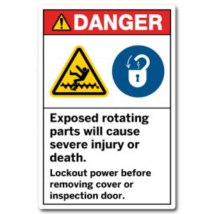 Exposed Rotating Parts Will Cause Severe Injury Or Death Lockout Power Before Removing Cover Or Inspection Door