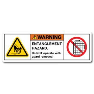 Entanglement Hazard Do Not Operate With Guard Removed
