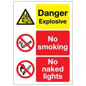 Danger Explosive No Smoking No Naked Lights