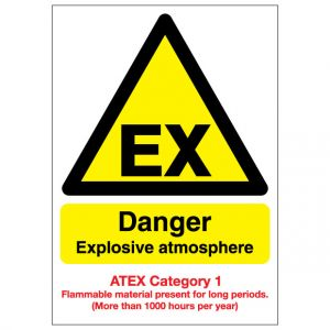 EX Danger Explosive Atmosphere Flammable Material ATEX Category 1