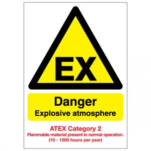 EX Danger Explosive Atmosphere Flammable Material ATEX Category 2