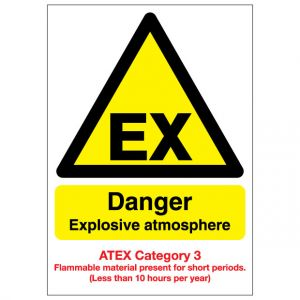 EX Danger Explosive Atmosphere Flammable Material ATEX Category 3