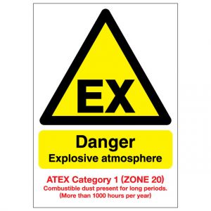 EX Danger Explosive Atmosphere Combustible Dust ATEX Category 1 Zone 20