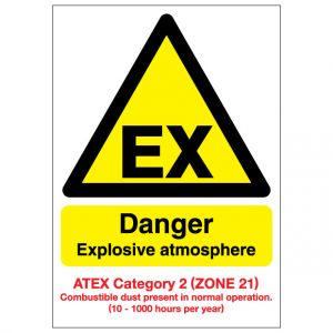 EX Danger Explosive Atmosphere Combustible Dust ATEX Category 2 Zone 21