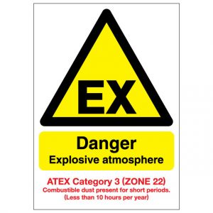 EX Danger Explosive Atmosphere Combustible Dust ATEX Category 3 Zone 22