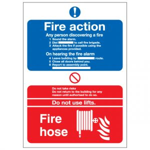 Fire Action Notice Fire Hose Reel