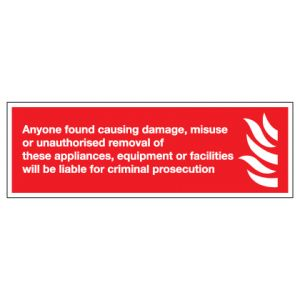 Damage Or Misuse To Fire Equipment