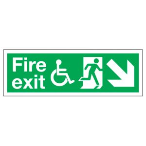 Fire Exit Disabled Access With Down Right Arrow