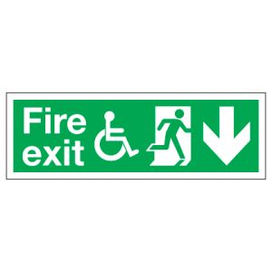 Fire Exit Disabled Access With Down Arrow
