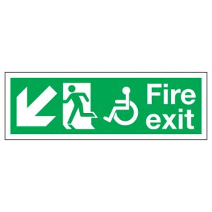 Fire Exit Disabled Access With Down Left Arrow
