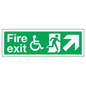 Fire Exit Disabled Access With Up Right Arrow