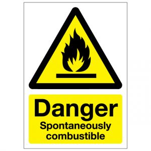 Danger Spontaneoulsy Combustible