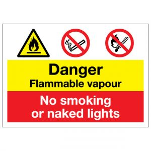 Danger Flammable Vapour No Smoking Or Naked Lights