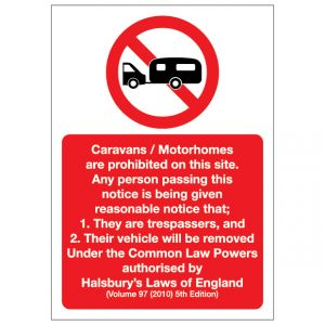 Caravans Motorhomes Prohibition Notice