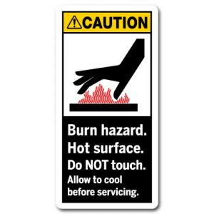 Burn Hazard Hot Surface Do Not Touch Allow To Cool Before Servicing
