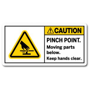 Pinch Point Moving Parts Below Keep Hands Clear