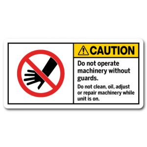 Do Not Operate Machinery Without Guards Do Not Clean Oil Adjust Or Repair Machinery While Unit Is On