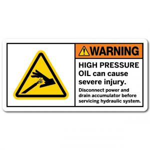 High Pressure Oil Can Cause Severe Injury Disconnect Power And Drain Accumulator Before Servicing Hydraulic System