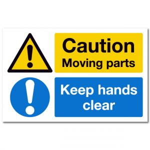 Caution Moving Parts Keep Hands Clear Safety Label