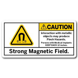 Strong Magnetic Field Interaction With Metallic Objects May Produce Pinch Hazards Persons With Medical Implants Keep Back 12 Inches