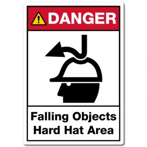 Danger Falling Objects Hard Hat Area