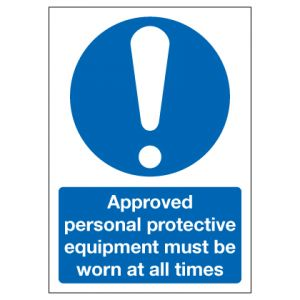 Approved Personal Protective Equipment Must Be Worn At All Times