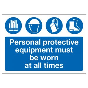 Personal Protective Equipment Must Be Worn At All Times