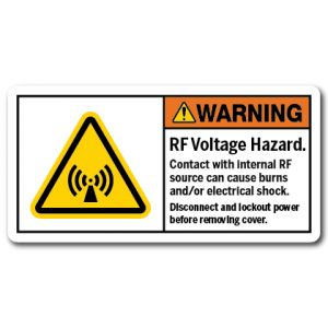 RF Voltage Hazard Contact With Internal RF Source Can Cause Burns And Or Electrical Shock Disconnect And Lockout Power Before Removing Cover