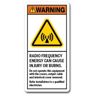 Radio Frequency Energy Can Cause Injury Or Burns Do Not Operate This Equipment With The Covers