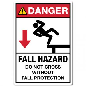Danger Fall Hazard Do Not Cross Without Fall Protection